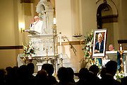 Mourners gather during a memorial service for former Speaker Tom Foley on Friday, November 1, 2013 at St. Aloysius Church in Spokane, Wash.