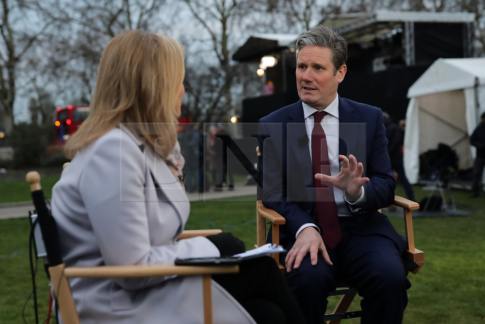 © Licensed to London News Pictures. 15/01/2019. London, UK. Labour Party Shadow Brexit Secretary Sir Keir Starmer MP on College Green. MPs will vote on Prime Minister Theresa May's Brexit deal this evening. Photo credit: Rob Pinney/LNP