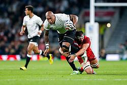 Fiji Winger Nemani Nadolo is tackled by England Flanker Tom Wood - Mandatory byline: Rogan Thomson/JMP - 07966 386802 - 18/09/2015 - RUGBY UNION - Twickenham Stadium - London, England - England v Fiji - Rugby World Cup 2015 Pool A.