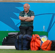 FA Chairman Greg Dyke sits with some packed bags during the England training session the day before their final Group D match against Costa Rica at Mineirão, Belo Horizonte, Brazil. <br /> Picture by Andrew Tobin/Focus Images Ltd +44 7710 761829<br /> 23/06/2014