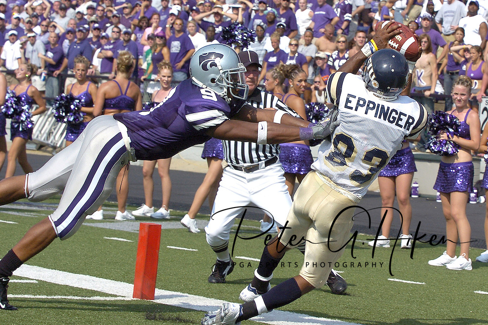 Kansas State defensive back Kyle Williams (9) pushes Florida International wide receiver Julius Eppinger (83) out of bounds before Eppinger made the catch in the fourth quarter.  Kansas State defeated Florida International 35-21 at KSU Stadium in Manhattan, Kansas on September 3, 2005.