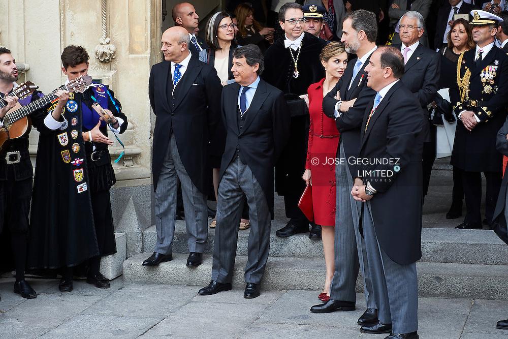 King Felipe VI of Spain and Queen Letizia of Spain attended the Cervantes Awards ceremony at the Alcala de Henares University on April 23, 2015 in Alcala de Henares, near of Madrid, Spain.