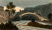 Bridge over the River Taff at Pontypridd, Wales, built by William Edwards at his third attempt in 1755. A bridge with a single span of 140 ft (42.672m) 35 ft (10.558 m) high. The first bridge was destroyed by floods. The second sprung because of its weight.  Weight was reduced in the third bridge by the holes on either side. From 'Scenes in England' by the Rev. Isaac Taylor, London, 1822. Hand-coloured engraving.