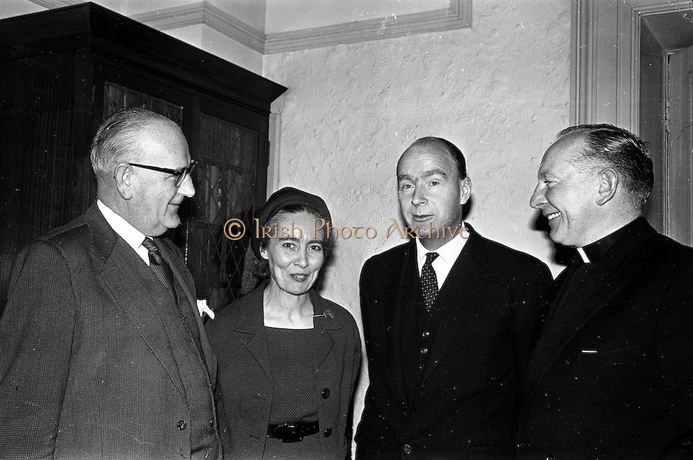 14/02/1963<br /> 02/14/1963<br /> 14 February 1963<br /> Reception for Course for Rural Amateur Drama Producers. At a reception in the Shelbourne Hotel, Dublin, Esso Petroleum Company (Ireland) Ltd. announced their intention to sponsor an annual course for Rural Amateur Drama Producers. Picture shows (l-r): Mr D.J. Dune, Managing Director of Esso; Mrs Kit Ahern, President of the Irish Countrywomens' Association ; Dr. P.J. Hillery, Minister for Education and Rev. Fr. C. Langan, C.C., President of the All-Ireland Amateur Drama Council.