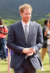 Prince Harry after making a speech during a youth rally at Brimstone Hill Fortress where he watched a number of cultural performances all led by the young people after arriving on the island of St Kitts for the second leg of his Caribbean tour.