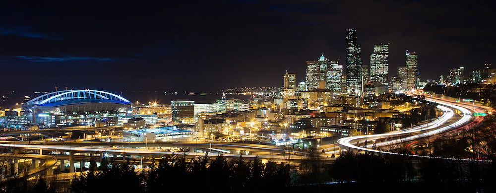 Long exposure night shot looking north towards Seattle Washington, Puget Sound and the CenturyLink stadium