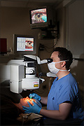 Client: Stanford Hospital Eye Clinic - a patient is prepared for laser eye surgery.