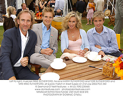 Left to right, musician MIKE RUTHERFORD, his sons HARRY RUTHERFORD and TOM RUTHERFORD and MRS MIKE RUTHERFORD, at a polo match in West Sussex on 21st July 2002.	PCE 344