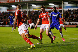 Jordan Cook of Walsall is challenged by Nathan Ake of Chelsea - Mandatory byline: Rogan Thomson/JMP - 07966 386802 - 23/09/2015 - FOOTBALL - Bescot Stadium - Walsall, England - Walsall v Chelsea - Capital One Cup.