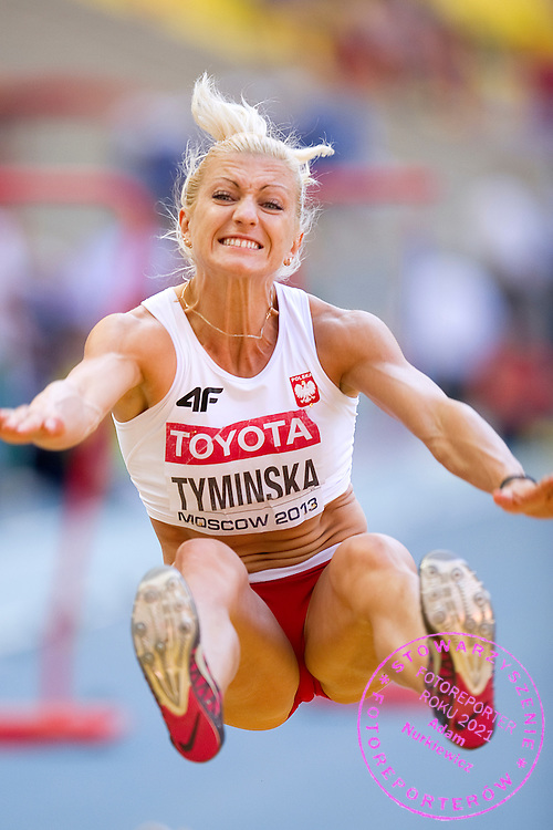 Karolina Tyminska from Poland competes in women's long jump while heptathlon during the 14th IAAF World Athletics Championships at the Luzhniki stadium in Moscow on August 13, 2013.<br /> <br /> Russian Federation, Moscow, August 13, 2013<br /> <br /> Picture also available in RAW (NEF) or TIFF format on special request.<br /> <br /> For editorial use only. Any commercial or promotional use requires permission.<br /> <br /> Mandatory credit:<br /> Photo by © Adam Nurkiewicz / Mediasport