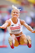 Karolina Tyminska from Poland competes in women's long jump while heptathlon during the 14th IAAF World Athletics Championships at the Luzhniki stadium in Moscow on August 13, 2013.<br /> <br /> Russian Federation, Moscow, August 13, 2013<br /> <br /> Picture also available in RAW (NEF) or TIFF format on special request.<br /> <br /> For editorial use only. Any commercial or promotional use requires permission.<br /> <br /> Mandatory credit:<br /> Photo by &copy; Adam Nurkiewicz / Mediasport