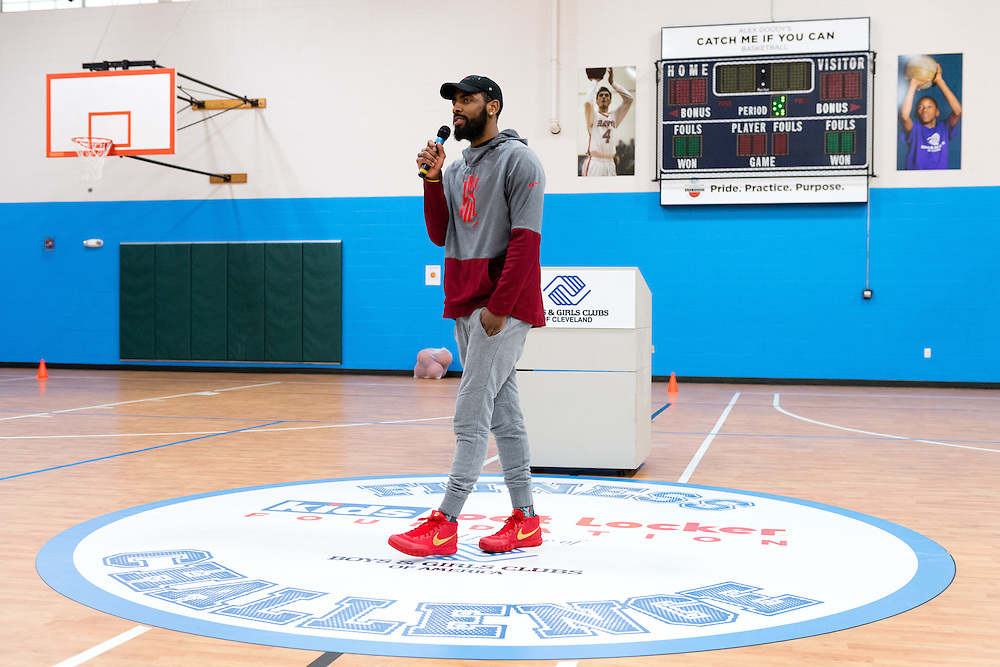 NBA star Kyrie Irving speaks to a group of Club kids during the Kids Foot Locker Fitness Challenge kickoff event at Boys & Girls Clubs of Cleveland on Friday, Jan. 20, 2017, in Cleveland. (Jason Miller/AP Images for Kids Foot Locker)