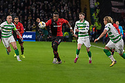 Theoson Siebatcheu (9) heads towards goal during the Europa League match between Celtic and Rennes at Celtic Park, Glasgow, Scotland on 28 November 2019.