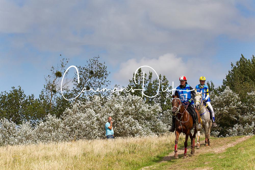 Johanne Hvid, (DEN), Flini Ox, Yvonne Ekelund, Baron Grey Star - Endurance - Alltech FEI World Equestrian Games™ 2014 - Normandy, France.<br /> © Hippo Foto Team - Leanjo de Koster<br /> 25/06/14