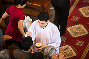 08 APRIL 2012 - HANOI, VIETNAM:   Priests and Deacons give Holy Communion during Easter Sunday mass in St. Joseph Cathedral in Hanoi, Vietnam. St. Joseph Cathedral in Hanoi is the seat of the Roman Catholic Archdiocese of Hanoi and is one of the most important Catholic churches in Vietnam. It was built in 1886 and is especially crowded on religious holidays, like Easter. The church holds three Easter masses on Easter Sunday morning. There are more than 5.6 million Roman Catholics in Vietnam, nearly 7% of the population. Catholicism came to what is now Vietnam with Portuguese missionaries in the 16th Century, but it wasn't until the arrival of French missionaries and later colonial authorities that Catholicism became a part of Vietnamese religious life.      PHOTO BY JACK KURTZ