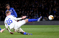 Chelsea's Callum Hudson-Odoi scores his side's third goal of the game during the UEFA Europa League, round of 16 first leg match at Stamford Bridge, London.