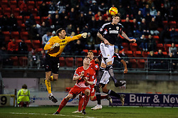 Bristol City Defender Aden Flint (ENG) heads the ball over Leyton Orient Goalkeeper Shwan Jalal (ENG) to score his sides 3rd goal - Photo mandatory by-line: Rogan Thomson/JMP - 07966 386802 - 11/02/2014 - SPORT - FOOTBALL - The Matchroom Stadium, London - Leyton Orient v Bristol City - Sky Bet Football League 1.