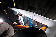 2nd March 2011. Cowes. Uk..Pictures of Paul Larsen and the new Vestas Sailrocket 2. Shown here as the speed record yacht leaves the build shed...Credit: Lloyd Images.