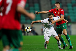 Andraz Sporar of Slovenia vs Bozhidar Chorbadzhiyski of Bulgaria during football match between National Teams of Slovenia and Bulgaria in Final Tournament of UEFA Nations League 2019, on September 6, 2018 in SRC Stozice, Ljubljana, Slovenia. Photo by Morgan Kristan / Sportida