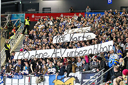 20.02.2015, Curt-Frenzel-Stadion, Augsburg, GER, DEL, Augsburger Panther vs EHC Red Bull München, 49. Runde, im Bild Fanblock EHC Red Bull Muenchen mit Banner // during Germans DEL Icehockey League 49th round match between Adler Mannheim and Grizzly Adams Wolfsburg at the Curt-Frenzel-Stadion in Augsburg, Germany on 2015/02/20. EXPA Pictures © 2015, PhotoCredit: EXPA/ Eibner-Pressefoto/ Kolbert<br /> <br /> *****ATTENTION - OUT of GER*****