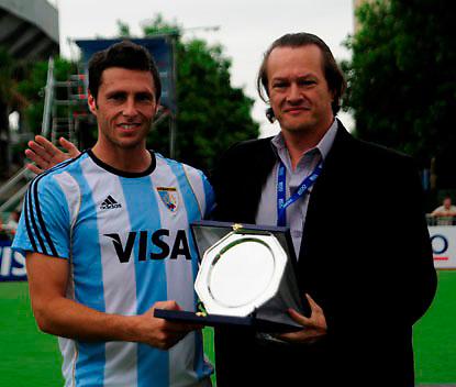 Argentina´s captain Matias Vila receive the Fair Play Trophy