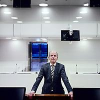 Nederland, Amsterdam, 22 januari 2013..Herman van der Meer (r), president van de nieuwe rechtbank in Amsterdam in 1 van de nieuwe rechtzalen binnen het nieuwe paleis van Justitie...Foto:Jean-Pierre Jans