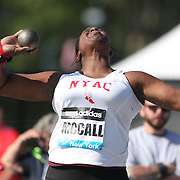Jeneva McCall, USA, in action in the Women's Shot Put during the Diamond League Adidas Grand Prix at Icahn Stadium, Randall's Island, Manhattan, New York, USA. 14th June 2014. Photo Tim Clayton