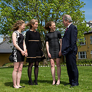 05.05. 2017.                                                 <br /> JP McManus today announced a further &euro;32 million investment in Third Level Education Scholarships for eligible students throughout Ireland, North and South. He was joined by the Minister for Education &amp; Skills, Richard Bruton T.D. and former All Ireland Scholarship recipients to make the announcement in Adare, Co Limerick. <br /> <br /> Pictured at the event in the Dunraven Arms were, Lisa Bolger, 2010 scholarship recipient, Sue Ann Foley daughter of JP McManus, 2010 scholarship recipient,  Linda Bolger, Kilrane Co. Wexford and JP McManus. Picture: Alan Place.