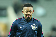 Gabriel Jesus (#33) of Manchester Citywarms up ahead of the Premier League match between Newcastle United and Manchester City at St. James's Park, Newcastle, England on 27 December 2017. Photo by Craig Doyle.