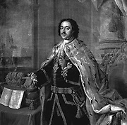 Portrait of Peter The Great', 1770. Engraving after Alexei Petrovich Antropov (1716-1795) Russian painter. Peter I (1672-1725) Emperor of Russia from 1682. Royalty