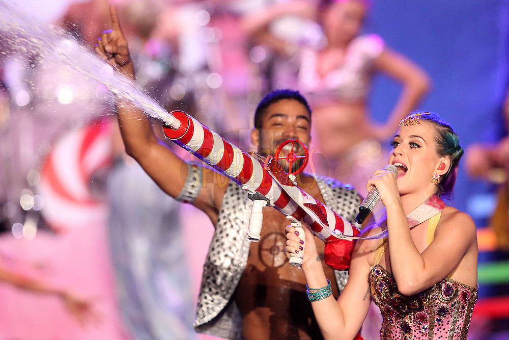 Katy Perry performs during the Indian Premier League ( IPL) 2012 opening night function and concert held at the YMCA College of Physical Education Grounds, Nandanam, Chennai on the 3rd April 2012..Photo by Ron Gaunt/IPL/SPORTZPICS