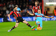 AFC Bournemouth midfielder Harry Arter and West Ham Utd midfielder Mark Noble' during the Barclays Premier League match between Bournemouth and West Ham United at the Goldsands Stadium, Bournemouth, England on 12 January 2016. Photo by Graham Hunt.
