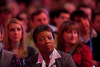 SAN FRANCISCO, CA - DEC 7:  Attendees listen as Marc Benioff, Chariman and CEO of SalesForce.com  speak during a keynote speech during the 2010 DreamForce Global Gathering being held at the Moscone Center on December 7, 2010 in San Francisco, California.  Photography by David Paul Morris