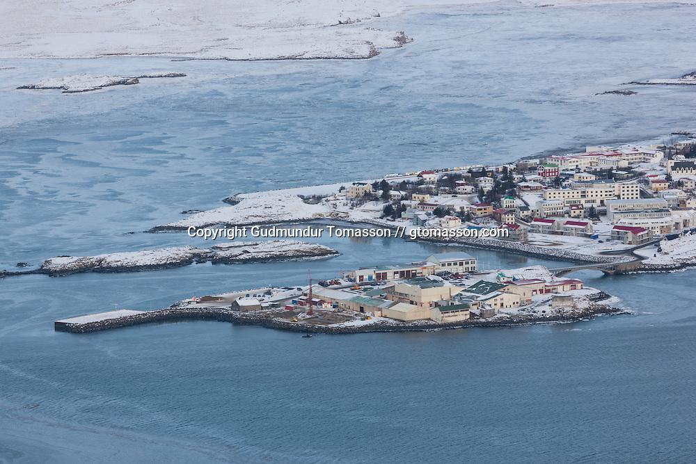 Aerial view of Borgarnes, Iceland.