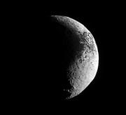 The Cassini spacecraft examines the rough dark-light dichotomy of the terrain on Saturn's moon Iapetus.