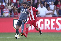 October 22, 2017 - Porto, Aves, Portugal - Benfica's Portuguese defender Andre Almeida (L) with Ave´s player Nelson Lanho (R) during the Premier League 2017/18 match between CD Aves and SL Benfica, at Estadio do Clube Desportivo das Aves in Aves on October 22, 2017. (Credit Image: © Dpi/NurPhoto via ZUMA Press)