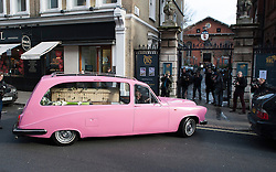 © London News Pictures. 13/02/2014. London, UK. The coffin arriving at the church in a pink hearse.  The funeral of actor Roger Lloyd-Pack at St Pauls Church also known as 'The Actor's Church'  in Covent Garden, London. Roger Lloyd-Pack was famous for playing roles such as Trigger in Only Fools and Horses and Owen Newitt in the The Vicar of Dibley. Photo credit : Ben Cawthra/LNP