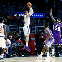 12 October 2017: LA Clippers forward Blake Griffin (32) takes a jump shot over Sacramento Kings forward Zach Randolph (50) during the LA Clippers 104-87 victory over the Sacramento Kings, at the Staples Center, Los Angeles, California, USA.