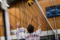 12-05-2017 NED: Nederland - Tsjechië, Amstelveen<br /> De Nederlandse volleybal mannen spelen hun eerste oefeninterland in de Emergohal in Amstelveen tegen Tsjechië. Deze wedstrijd staat in het teken van de verplaatsing van het Bankrasmomument. Nederland speelde daarom in speciale oude Nederlandse shirts uit 1992 / Jasper Diefenbach #6
