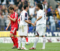 Photo: Paul Thomas.<br /> Bolton Wanderers v Liverpool. The Barclays Premiership. 30/09/2006.<br /> <br /> Bolton goal scorers Gary Speed (L) and Ivan Campo congratulate each other after the game.