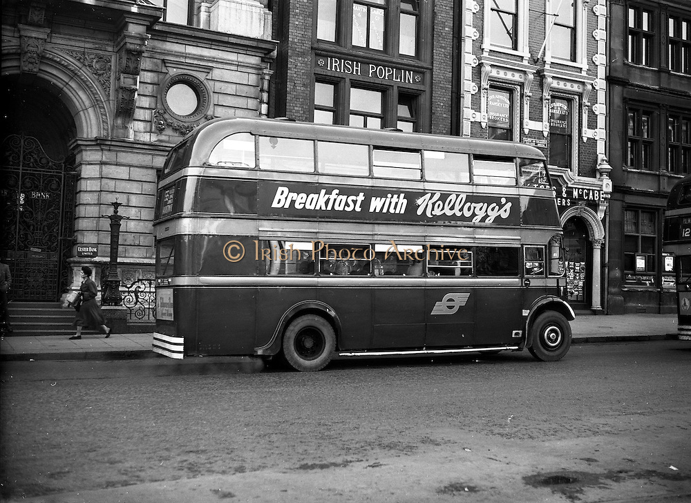 04/11/1954<br /> 11/04/1954<br /> 04 November 1954<br /> Kellogg's breakfast cereal advertisement on bus in Dublin