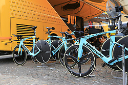 Team Jumbo-Visma Bianchi bikes lined up outside the team bus before Stage 1 of the 2019 Giro d'Italia, an individual time trial running 8km from Bologna to the Sanctuary of San Luca, Bologna, Italy. 11th May 2019.<br /> Picture: Eoin Clarke | Cyclefile<br /> <br /> All photos usage must carry mandatory copyright credit (© Cyclefile | Eoin Clarke)