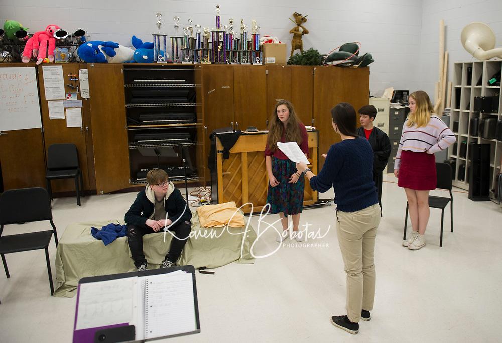 While Shakespeare Slept rehearsal at Belmont High School.  Karen Bobotas for the Laconia Daily Sun