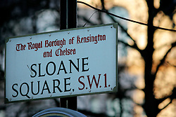 UK ENGLAND LONDON 13MAR07 - Road sign in the Sloane Square area, a wealthy part of west London.. . jre/Photo by Jiri Rezac. . © Jiri Rezac 2007. . Contact: +44 (0) 7050 110 417. Mobile:  +44 (0) 7801 337 683. Office:  +44 (0) 20 8968 9635. . Email:   jiri@jirirezac.com. Web:    www.jirirezac.com. . © All images Jiri Rezac 2007 - All rights reserved.