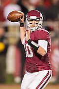 FAYETTEVILLE, AR - OCTOBER 11:  Brandon Allen #10 of the Arkansas Razorbacks throws a pass against the Alabama Crimson Tide at Razorback Stadium on October 11, 2014 in Fayetteville, Arkansas.  The Crimson Tide defeated the Razorbacks 14-13.  (Photo by Wesley Hitt/Getty Images) *** Local Caption *** Brandon Allen
