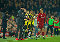 LIVERPOOL, ENGLAND - Wednesday, February 27, 2019: Liverpool's manager Jürgen Klopp issues instructions to Trent Alexander-Arnold during the FA Premier League match between Liverpool FC and Watford FC at Anfield. (Pic by Paul Greenwood/Propaganda)