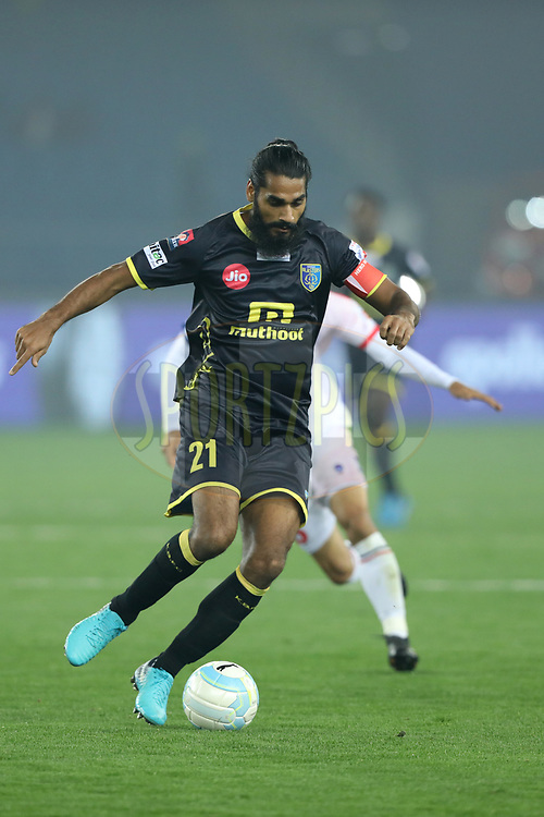 Sandesh Jhingan of Kerala Blasters FC during match 43 of the Hero Indian Super League between Delhi Dynamos FC and Kerala Blasters FC  held at the Jawaharlal Nehru Stadium, Delhi, India on the 10th January 2018<br /> <br /> Photo by: Arjun Singh  / ISL / SPORTZPICS