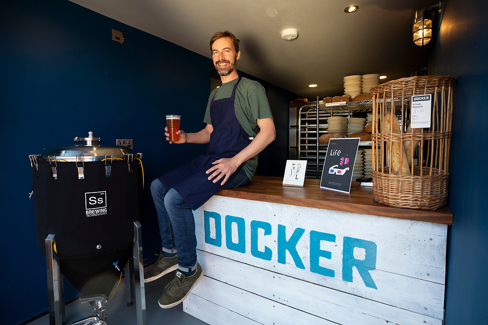 Pete Nelson of Dockers Brewery and Bakehouse with the bank holiday weekend brew Life in 3d, Folkestone, Kent.