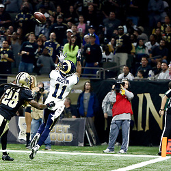 Nov 27, 2016; New Orleans, LA, USA;  Los Angeles Rams wide receiver Tavon Austin (11) catches a touchdown over New Orleans Saints cornerback B.W. Webb (28) during the first quarter of a game at the Mercedes-Benz Superdome. Mandatory Credit: Derick E. Hingle-USA TODAY Sports