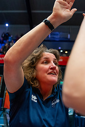 Coach Vera Koenen of Sliedrecht Sport celebrate in the cup final between Sliedrecht Sport and Laudame Financials VCN on February 16, 2020 in De Maaspoort in Den Bosch.